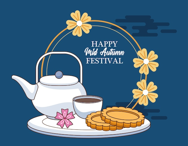 Cartão de celebração do meio do outono com biscoitos e chá em um quadro floral