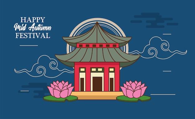 Cartão de celebração do meio do outono com casa chinesa e flores de lótus