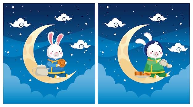 Cartão de celebração do meio do outono com coelhos em cenas de lua crescente