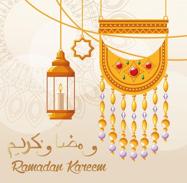 Cartão de celebração do ramadã kareem com lanternas penduradas