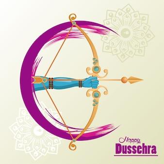 Cartão de celebração dussehra feliz com a mão e o arco.