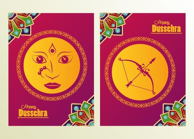 Cartão de celebração dussehra feliz com rosto de deusa e quadros em arco.