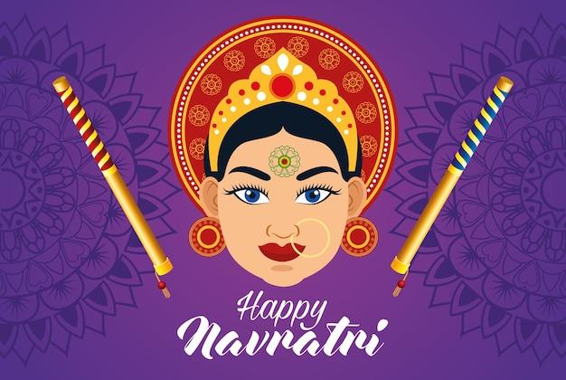 Cartão de celebração feliz navratri com bela deusa e varas