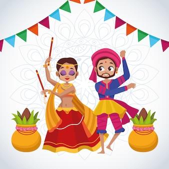 Cartão de celebração feliz navratri com casal dançando e guirlandas