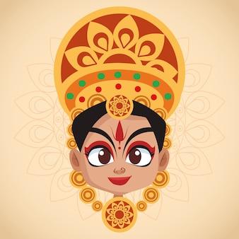 Cartão de celebração feliz navratri com linda deusa
