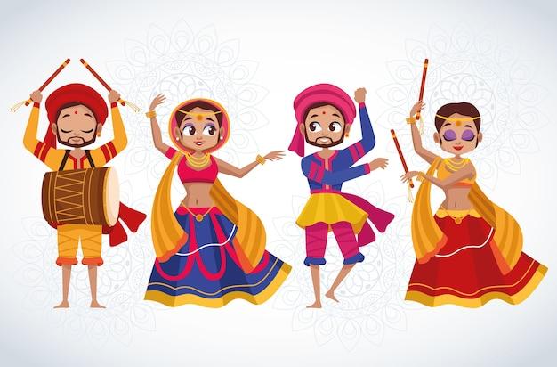Cartão de celebração feliz navratri com personagens de grupo de dançarinos