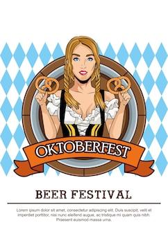 Cartão de celebração feliz oktoberfest com linda mulher comendo pretzels no quadro