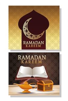 Cartão de celebração ramadan kareem com baú de madeira e livro