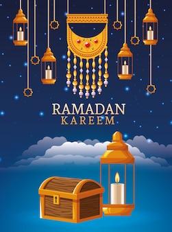 Cartão de celebração ramadan kareem com lanternas penduradas e peito