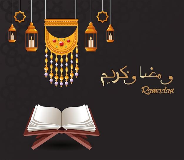 Cartão de celebração ramadan kareem com lanternas penduradas e projeto de ilustração vetorial corão