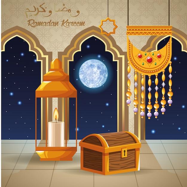 Cartão de celebração ramadan kareem com peito e lanterna vector design ilustração