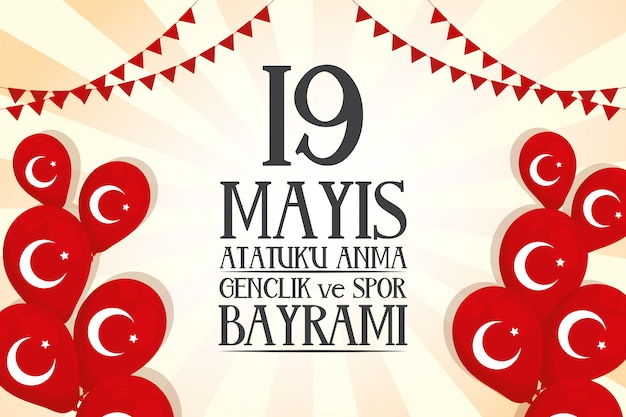 Cartão de celebração zafer bayrami com bandeiras de peru em balões de hélio