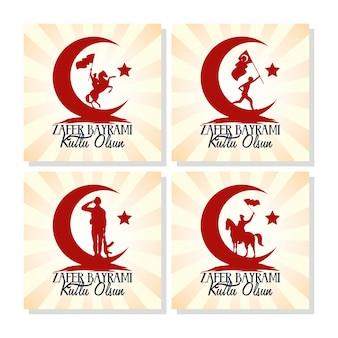 Cartão de celebração zafer bayrami com conjunto de ícones