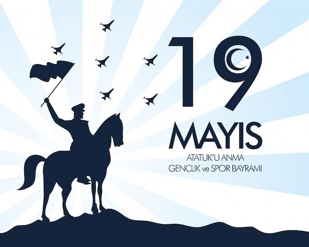 Cartão de celebração zafer bayrami com soldado em cartão de cavalo