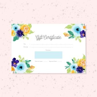 Cartão de certificado de presente com moldura floral aquarela