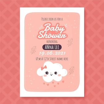 Cartão de chá de bebê chuva de amor desenhado