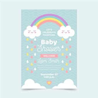 Cartão de chá de bebê chuva de amor