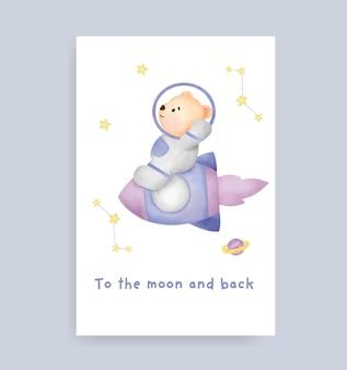 Cartão de chá de bebê com fofo urso de pelúcia na lua