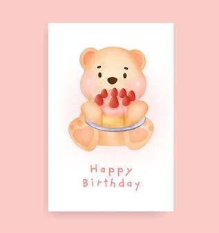 Cartão de chá de bebê com fofo urso de pelúcia