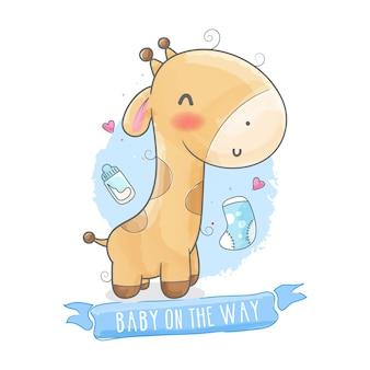 Cartão de chá de bebê com girafa fofa