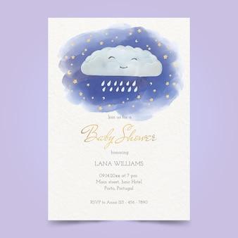 Cartão de chá de bebê com pintura chuva de amor