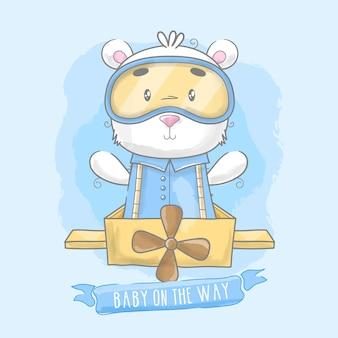 Cartão de chá de bebê com ursinho de pelúcia no avião