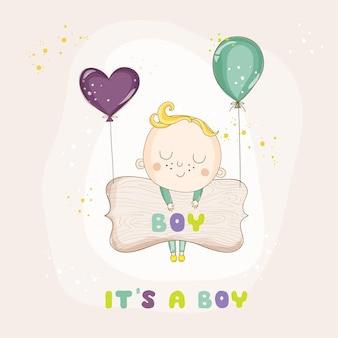 Cartão de chá de bebê de menino com balões