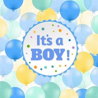 Cartão de chá de bebê, é um menino