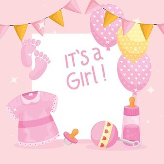 Cartão de chá de bebê feminino