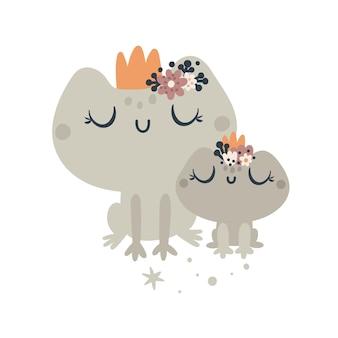 Cartão de chá de bebê fofo com animais sapos