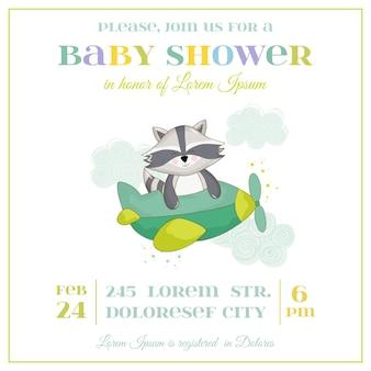 Cartão de chá de bebê - guaxinim