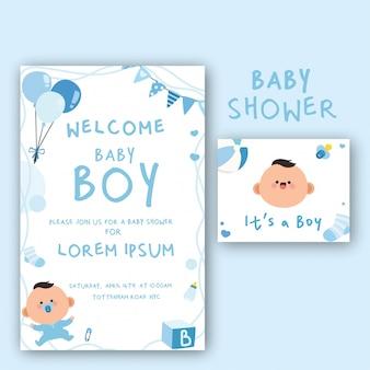 Cartão de chá de bebê kawaii para menino ilustrado