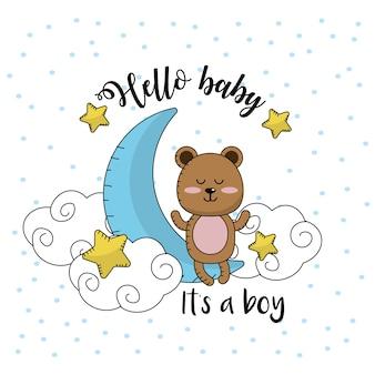 Cartão de chá de bebê para receber um menino