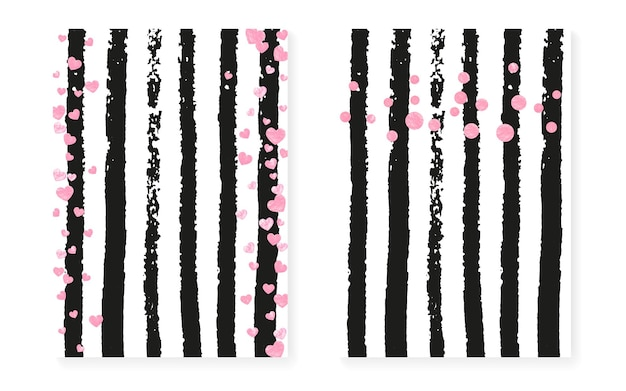 Cartão de chá de panela com pontos e lantejoulas. convite de casamento com confete de glitter rosa. fundo de listras verticais. cartão de chá de panela de moda para festa, evento, salvar o panfleto de data.