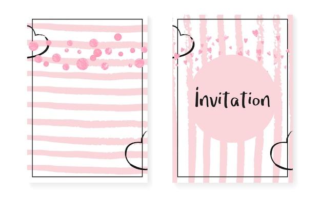 Cartão de chá de panela com pontos e lantejoulas. convite de casamento com confete de glitter rosa. fundo de listras verticais. cartão de concurso nupcial chuveiro para festa, evento, salvar o folheto de data.
