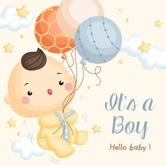 Cartão de chegada de balão bebé