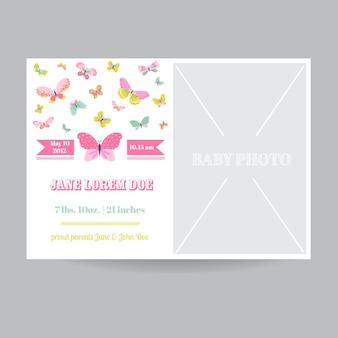 Cartão de chegada de menina com tema de borboleta