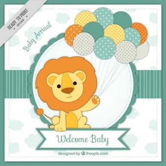 Cartão de chegada do bebê com leão