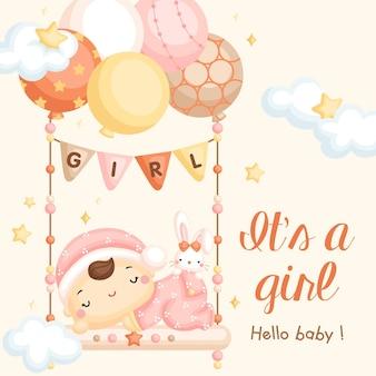 Cartão de chegada do bebê no balanço com balão