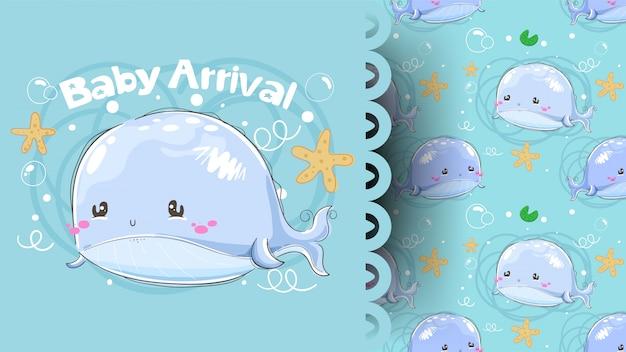 Cartão de chegada do chuveiro de bebê com padrão de baleia