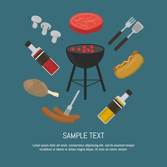Cartão de churrasqueira, modelo de design.
