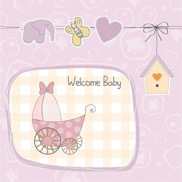 Cartão de chuveiro bebê menina com carrinho