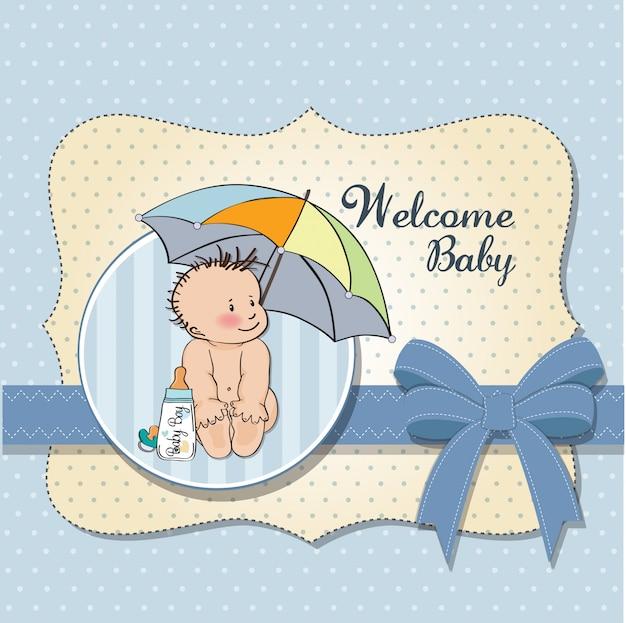 Cartão de chuveiro bebê menino com bebê engraçado sob seu guarda-chuva
