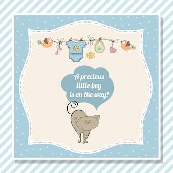 Cartão de chuveiro bebê menino com gatinho