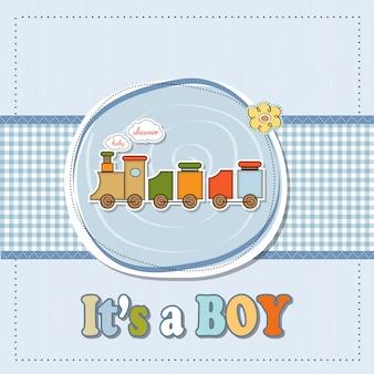 Cartão de chuveiro bebê menino com trem de brinquedo