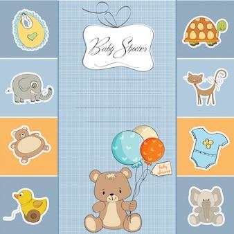 Cartão de chuveiro bebê menino com ursinho fofo