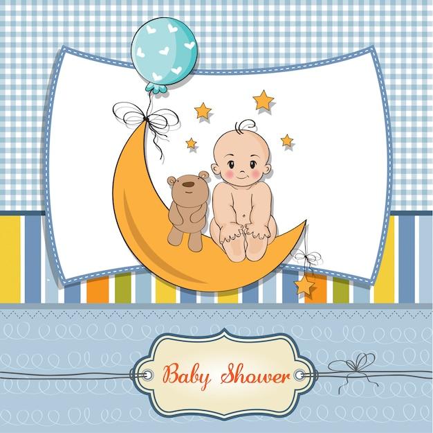 Cartão de chuveiro bebê menino
