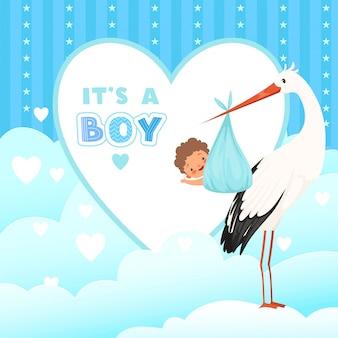 Cartão de chuveiro com cegonha, pássaro voando com presente de bebê recém-nascido, fundo de desenhos animados para emblemas de etiquetas