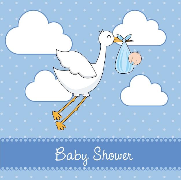 Cartão de chuveiro de bebê azul com cegonha e ilustração vetorial de bebê