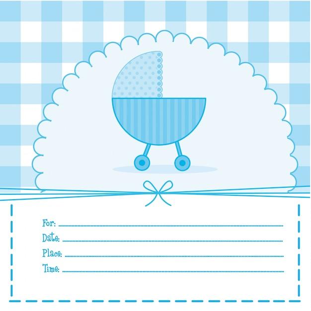 Cartão de chuveiro de bebê azul com ilustração vetorial de carrinho